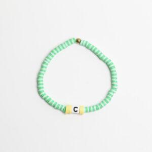 Pulseira Letras Verde Água e Amarela C